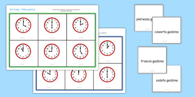 Gra Bingo Pełna godzina po polsku - czas, godzina, zegar