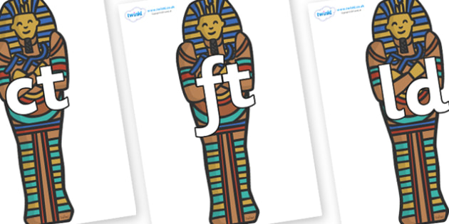 Final Letter Blends on Sarcophagus - Final Letters, final letter, letter blend, letter blends, consonant, consonants, digraph, trigraph, literacy, alphabet, letters, foundation stage literacy