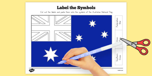 Flags of Australia Australian National Flag Label the Symbols - australian, geography, areas, different, display, colourful, classroom, visual aid, early years, ks1, key stage 1, ks2, key stage 2, regions, country, nation, people, activity, art,