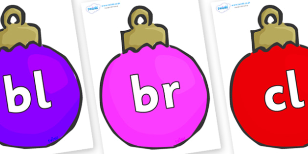 Initial Letter Blends on Baubles (Multicolour) - Initial Letters, initial letter, letter blend, letter blends, consonant, consonants, digraph, trigraph, literacy, alphabet, letters, foundation stage literacy