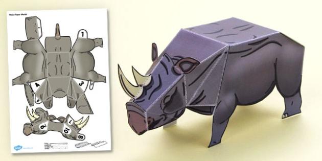 3D Rhino Paper Model Activity - 3d rhino, paper model, paper, model, activity