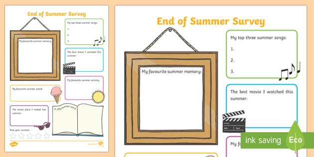 End of Summer Student Survey Activity Sheet - Beginning of School Resources, back to school, summer vacation, summer, survey, likes, dislikes