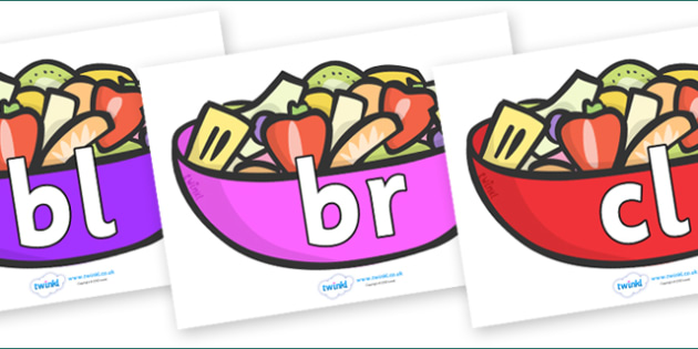 Initial Letter Blends on Fruit Salad - Initial Letters, initial letter, letter blend, letter blends, consonant, consonants, digraph, trigraph, literacy, alphabet, letters, foundation stage literacy