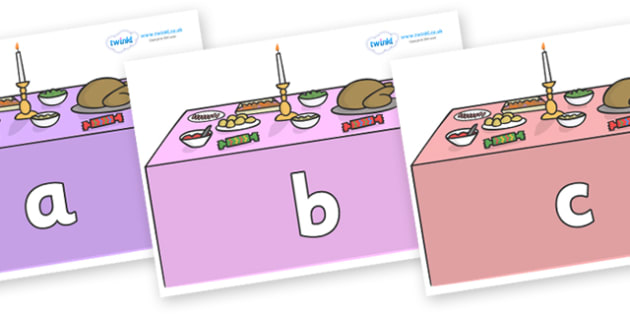 Phase 2 Phonemes on Christmas Dinner (Tables) - Phonemes, phoneme, Phase 2, Phase two, Foundation, Literacy, Letters and Sounds, DfES, display