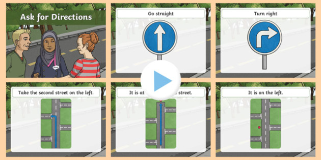 Directions PowerPoint - directions, phrases, direct, powerpoint, aid