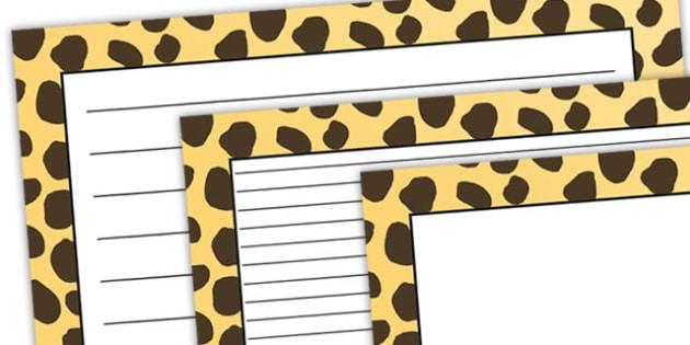 Cheetah Pattern Landscape Page Border - safari, safari page borders, cheetah page borders, cheetah pattern page borders, safari animal pattern page borders