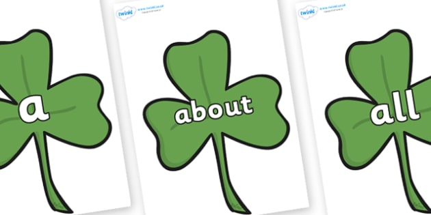100 High Frequency Words on Clovers - High frequency words, hfw, DfES Letters and Sounds, Letters and Sounds, display words