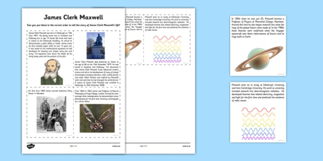 Scottish Significant Individuals James Clerk Maxwell Sequencing Activity Sheet - CfE, significant individuals, science, maths, engineering, electromagnetic radiation, worksheet