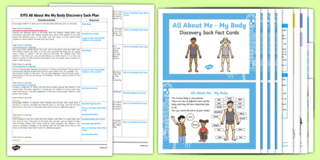 EYFS Ourselves All About Me My Body Discovery Sack Plan and Resource Pack - Early Years, KS1,