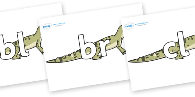 Initial Letter Blends on Aligator - Initial Letters, initial letter, letter blend, letter blends, consonant, consonants, digraph, trigraph, literacy, alphabet, letters, foundation stage literacy