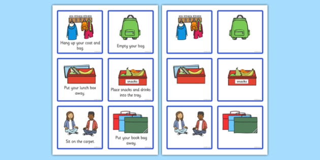 Classroom Morning Reminder Cards - classroom, morning, reminder, cards flashcards, in the morning, reminding, empty your bag, hang up your coat, put your lunch box away