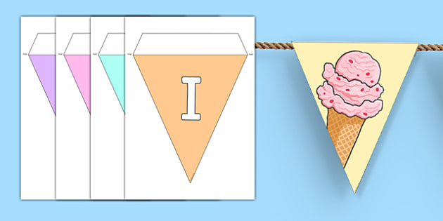 Ice Cream Bunting - ice cream, bunting, display bunting, display