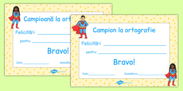 Campion la ortografie - Diplomă - campion, diplome, recompense, ortografie, materiale didactice, română, romana, material, material