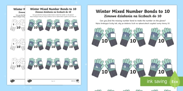 Winter Themed Mixed Number Bonds to 10 Activity Sheet English/Polish - Winter, snow, Christmas, mittens, addition, number bonds to 10,Polish-translation