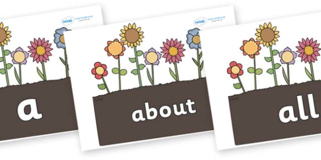 100 High Frequency Words on Garden Flowers - High frequency words, hfw, DfES Letters and Sounds, Letters and Sounds, display words
