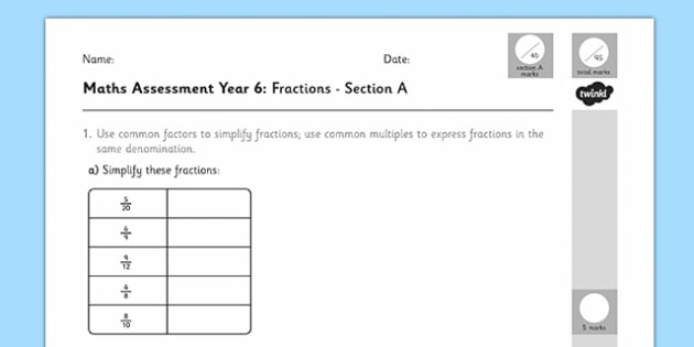 Year 6 Maths Assessment: Fractions Term 1 - maths, assessment, fractions