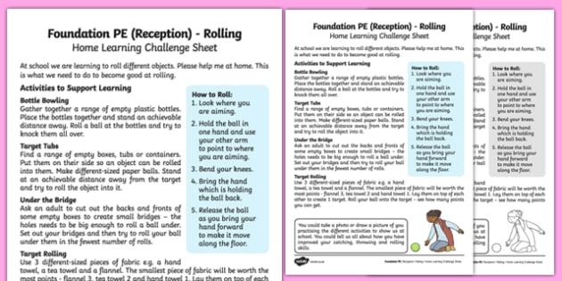 Foundation PE (Reception) Rolling Home Learning Challenge Sheet - EYFS, PE, Physical Development