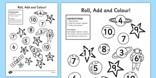Roll and Colour Dice Addition Activity - space, addition