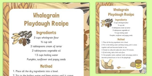 Wholegrain Playdough Recipe - wholegrain, playdough, recipe