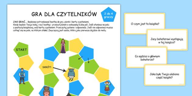 Gra planszowa Czytanie ze zrozumieniem po polsku - lektury