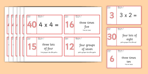 Loop Cards 3 and 4 Times Table Romanian Translation - romanian, Loop cards, cards, 6, 8, times, table, multiple, multiples, multiplication, Maths, numbers, numeracy, KS2