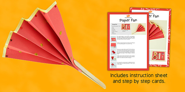 Make Your Own Paper Fan Craft Instructions - fan, craft, instructions, paper, stick