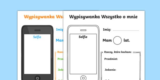 Wypełnianka Wszystko o mnie po polsku, worksheet