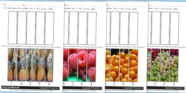 Fruit Themed Number Sequencing Photo Puzzles - games, food, veg