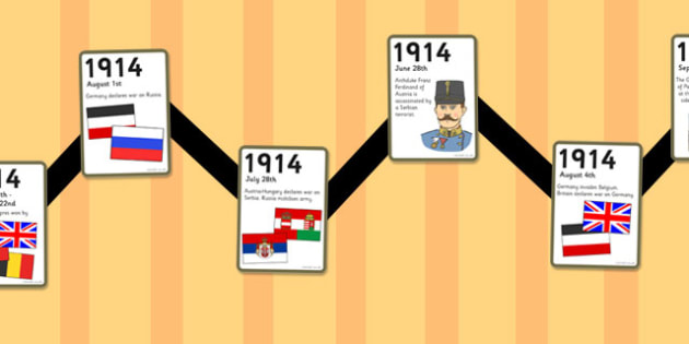 World War One - World War One Zig Zag Timeline Activity Sheet, worksheet
