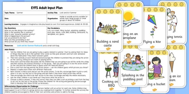 Look and Act Summer Activity EYFS Adult Input Plan and Resource Pack - seasons