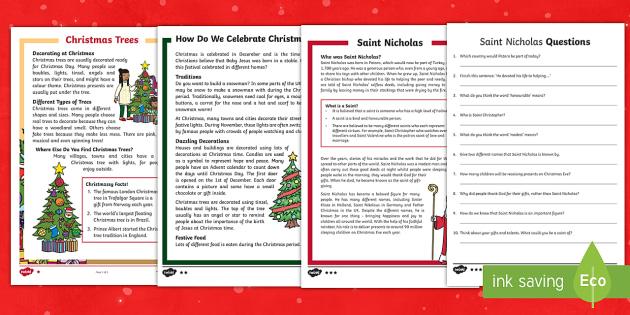 KS1 Christmas Differentiated Reading Comprehension Activity Pack - Christmas, Nativity, Jesus, xmas, Xmas, Father Christmas, Saint Nic, Saint Nicholas, Santa, Advent,