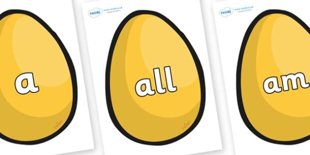 Foundation Stage 2 Keywords on Golden Egg - FS2, CLL, keywords, Communication language and literacy,  Display, Key words, high frequency words, foundation stage literacy, DfES Letters and Sounds, Letters and Sounds, spelling