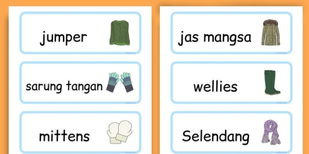 Winter Clothes Word Cards - winter clothes, word cards, winter, clothes - Javanese