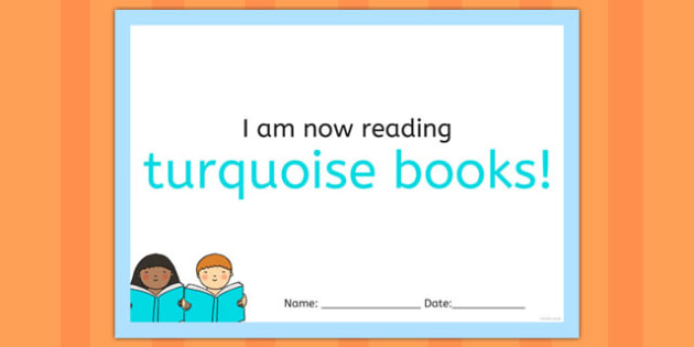 I'm Now Reading Turquoise Books Certificate - certificate, coloured, reading, book