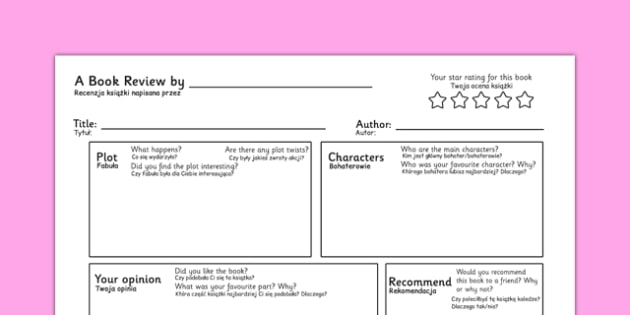 Book Review Writing Template Polish Translation - polish, book review, writing template