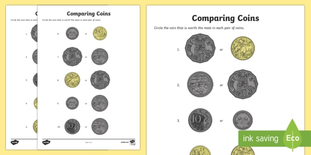Comparing Coins Activity Sheet - Australian currency Australian money, Australian coins, Australia, worksheet, dollars, more, less.