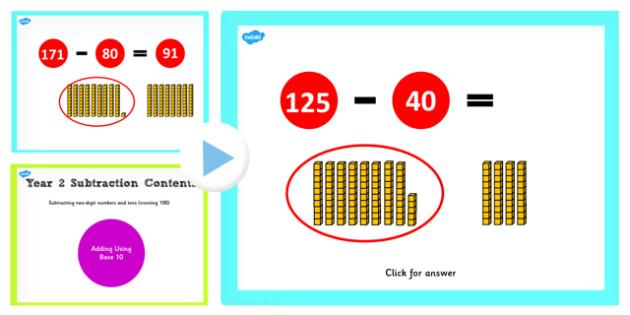Y2 Subtracting 2 Digit Numbers Cross 100 10s Base 10 PowerPoint