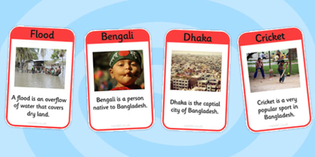 Bangladesh Vocabulary Cards - bangladesh, vocabulary, cards