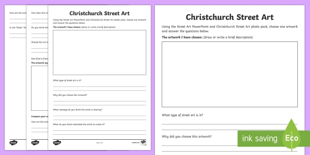 Christchurch Street Art Study Activity Sheet - New Zealand Natural Disasters, earthquake, tsunami, volcano, monsoon, hurricane, flood, tornado, wor