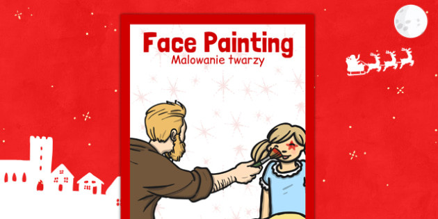Christmas Themed Face Painting Poster Polish Translation - polish, christmas, face painting, poster, display