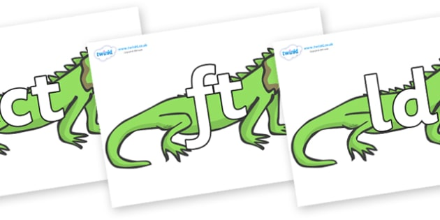 Final Letter Blends on Iguanas - Final Letters, final letter, letter blend, letter blends, consonant, consonants, digraph, trigraph, literacy, alphabet, letters, foundation stage literacy