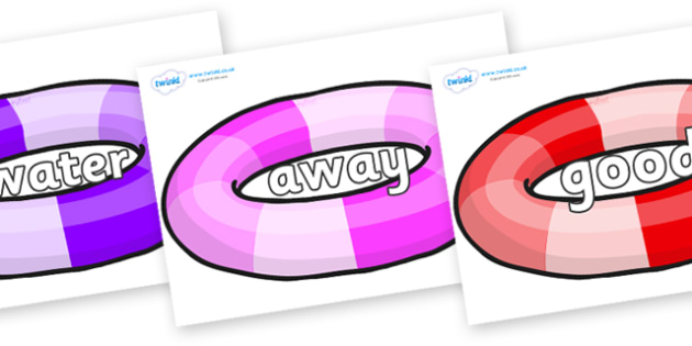 Next 200 Common Words on Inflatable Rings - Next 200 Common Words on  - DfES Letters and Sounds, Letters and Sounds, Letters and sounds words, Common words, 200 common words