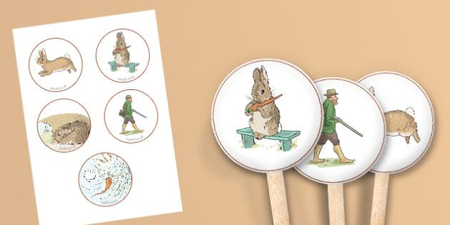 Beatrix Potter - The Story of a Fierce Bad Rabbit Stick Puppets - beatrix potter, fierce, bad, rabbit