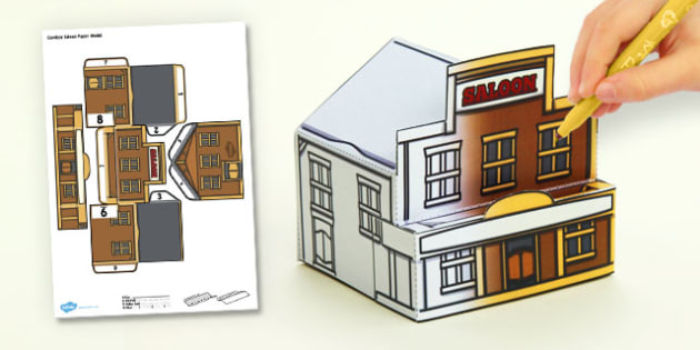 3D Cowboy Saloon Paper Model Activity - 3d, cowboy, saloon, model
