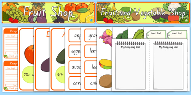 New Zealand Fruit and Vegetable Shop  Role Play Pack
