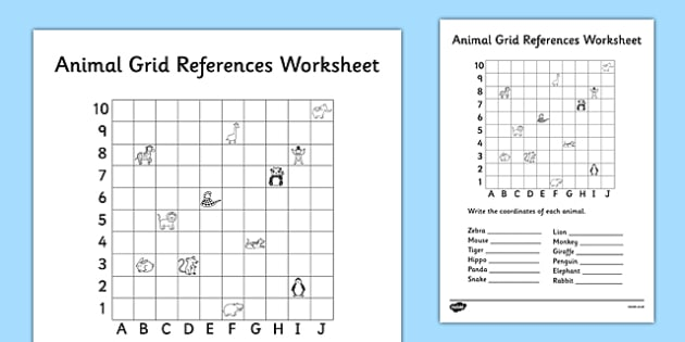 Animal Grid References Worksheet - coordinates worksheet, co-ordinates worksheet, find the coordinates, coordinates graph, finding coordinates, ks2 numeracy