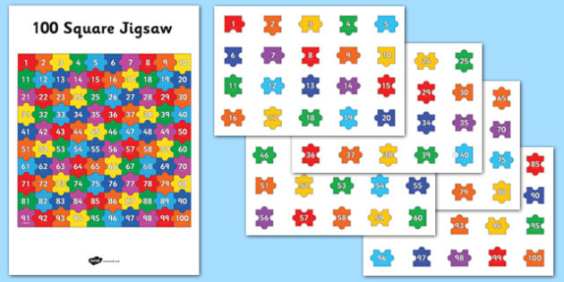 100 Square Jigsaw - 100 square, jigsaw, puzzle, game, activity, 100, square, numeracy