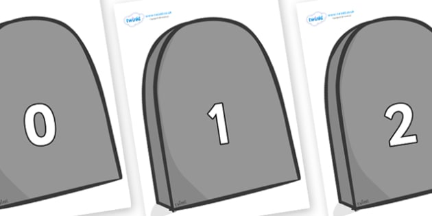 Numbers 0-50 on Grave Stones - 0-50, foundation stage numeracy, Number recognition, Number flashcards, counting, number frieze, Display numbers, number posters