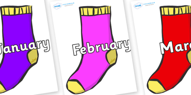 Months of the Year on Socks - Months of the Year, Months poster, Months display, display, poster, frieze, Months, month, January, February, March, April, May, June, July, August, September