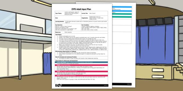 Add a Sound EYFS Adult Input Plan - eyfs, sound, eyfs, input
